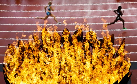 during the athletics in the Olympic Stadium at the 2012 Summer Olympics, London, Friday, Aug. 3, 2012. (AP Photo/Daniel Ochoa De Olza)