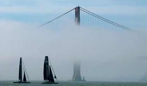 A pair of Oracle Racing AC45s sail past the Golden Gate Bridge in San Francisco, Tuesday, Feb. 21, 2012. The AC45, a 45-foot catamaran, is the official boat of the Americaís Cup World Series which will race for two seasons before the 2013 events and is the the forerunner to the AC72 that will be sailed in the Louis Vuitton Cup and Americaís Cup Finals in 2013. (AP Photo/Jeff Chiu)