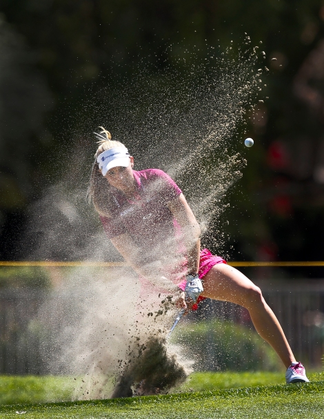 Ryan O'Toole hits from the bunker on the 10th hole during the second round of the LPGA Kraft Nabisco Championship golf tournament in Rancho Mirage, Calif., Friday, March 30, 2012. (AP Photo/Chris Carlson)