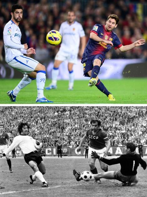 Il passaggio di consegne. In alto Messi a segno il 17 novembre scorso contro il Saragozza, sotto Müller  fa altrettanto contro l'Unione Sovietica all'Heysel il 18 giugno 1972 (AP Photos, Files)