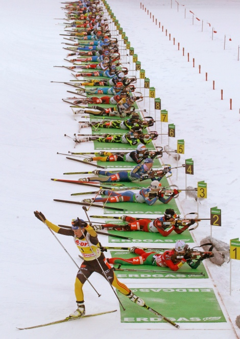 World Cup Biathlon overall winner Magdalena Neuner of Germany leaves her first shooting range during the women's 12.5 km mass start at the IBU World Cup Biathlon at Khanty-Mansiysk, 2759 km northeast  of Moscow, Russia,  Sunday, March 18, 2012. (AP Photo/Mikhail Metzel)