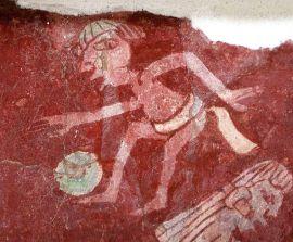 Ben riconoscibile un giocatore di pelota nella riproduzione murale nel Complesso Tepantitla a Teotihuacan (Foto Flickr Daniel Lobo)