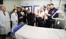 Sintini e tutta l'Itas Diatec Trento in vista all'ospedale Santa Maria della Misericordia di Perugia