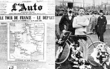 Henri Desgrange, ideatore e primo organizzatore del Tour, con Maurice Garin, vincitore dell'edizione inaugurale. Sulla sinistra la prima pagina de L'Auto alla partenza del Tour del 1903 (foto letour.fr/AFP)