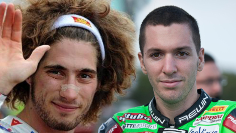 Marco Simoncelli (sx) e Andrea Antonelli: gli ultimi due motociclisti italiani a morire in gare iridate (elaborazione grafica Pensieri di Sport ©)