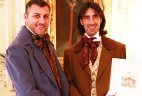 Bobo Vieri in coppia con Marco Delvecchio a dar prova di capacità ballerine in tv (Foto Sky)