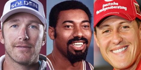 Da destra: Bode Miller, Wilt Chamberlain, Michael Schumacher (elaborazione grafica Pensieri di Sport ©)